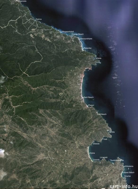 Sithonia térkép: Sarti környékbeli strandjai