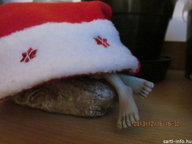 Karácsonyi manó a sapka alatt