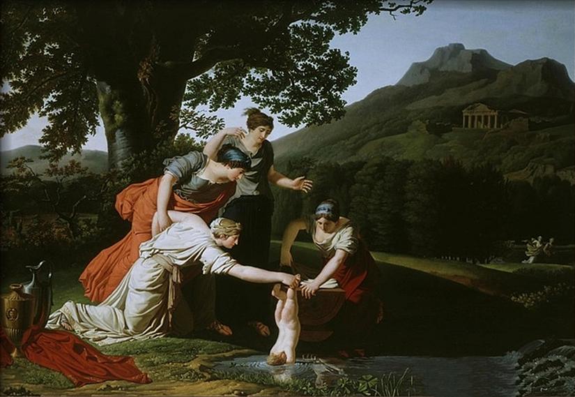 Thetisz a folyóba mártja Akhilleuszt