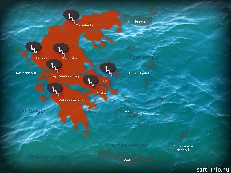 Vihar térkép, Görögország