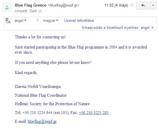 Sarti kék zászlói, e-mail