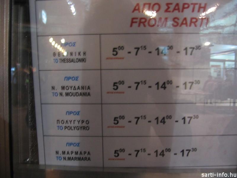 Sarti busz menetrend