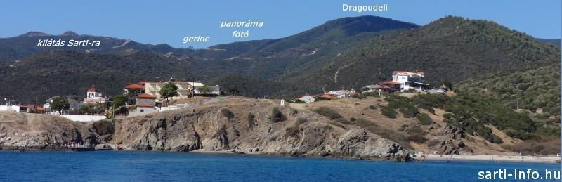 A Dragoudeli Sarti kikötőjéből. Középen kivehető a gerincre vezető út.