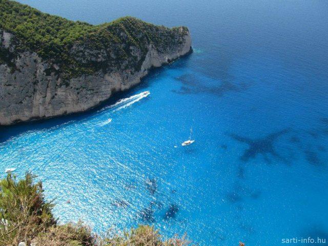 Kék tenger a Navagio öbölben