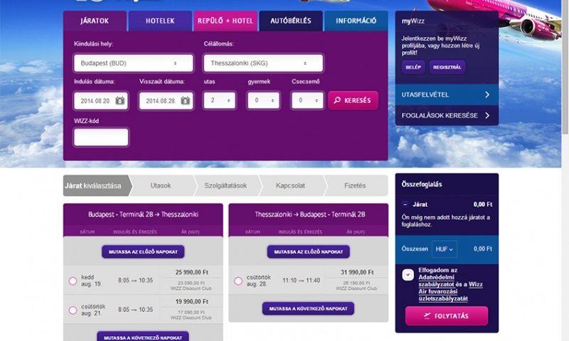 Online repülőjegy foglalás