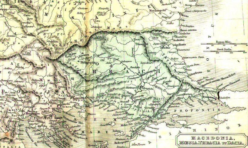 Trákia régi térkép
