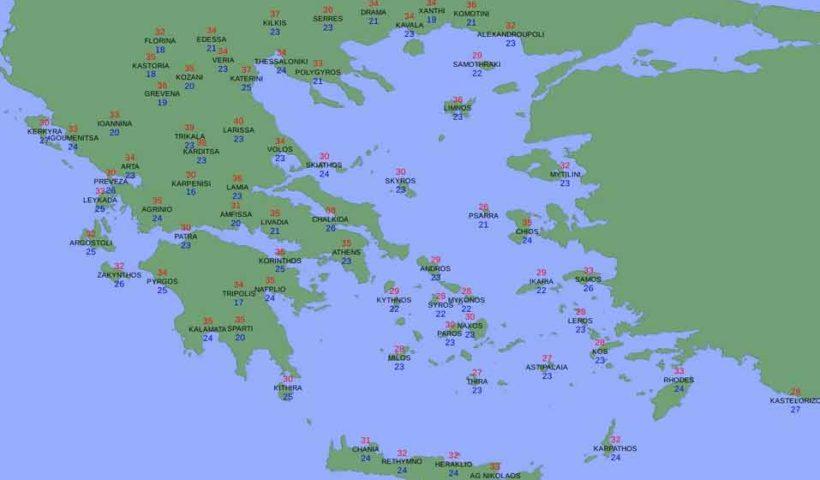 Görögország időjárás térképe 2015. július