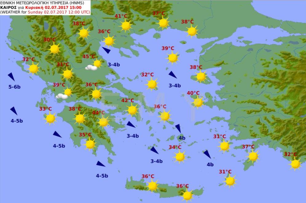 Hőségriadó Görögország térkép