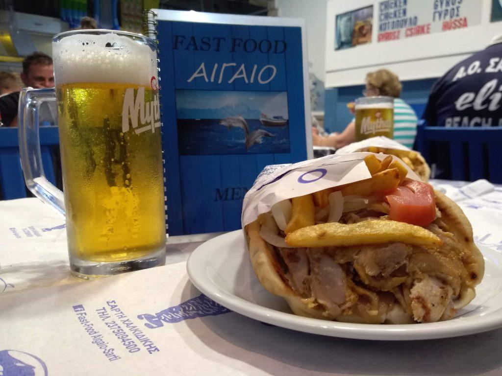 Görög gyros-tál zöldséggel és tzatzikivel, Aigaio Fast Food